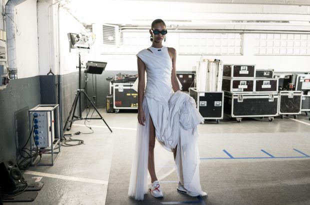 Paris Fashion Week: backstage at the Off-White show. Photograph: Vittorio Zunino Celotto/Getty