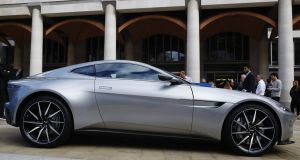 An Aston Martin DB10 concept car parked outside the London Stock Exchange. Photograph: Luke MacGregor/Bloomberg