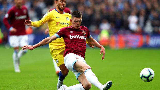 Declan Rice in action for West Ham United against Chelsea. Photograph: Dean Mouhtaropoulos/Getty Images