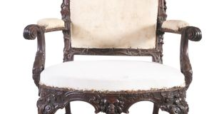 Detail of carved mahogany armchair (Lot 196, €12,000-€18,000)