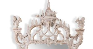 Detail of  wall mirror showing ho-ho bird (Lot 438, €8,000-€12,000)