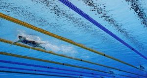 Katie Ledecky of the United States leads the field in the  800m freestyle final at the  2016 Olympic Games at the Olympic Aquatics Stadium in Rio de Janeiro. Photograph: Adam Pretty/Getty Images