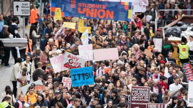 A view of the crowd at the Raise the Roof protest. Photograph: Tom Honan/The Irish Times.
