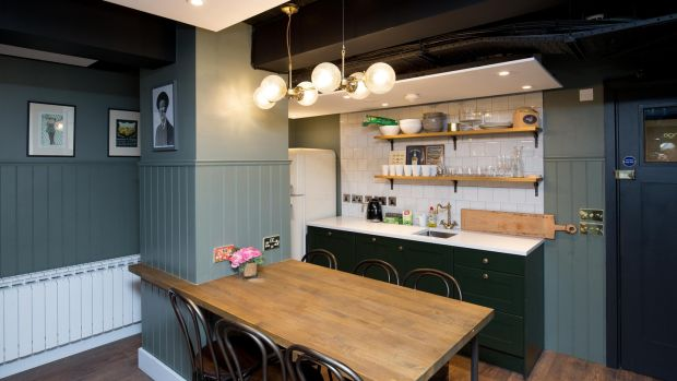Kitchen in Node Co-Living Space, Alexander Court, Dublin 2. Photograph: Tom Honan