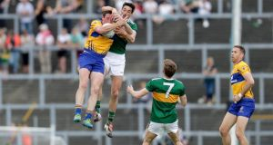 Kerry's Anthony Maher challenges Clare's Cathal O'Connor during the Munster SFC semi-final at Fitzgerald Stadium in June. Photograph: Laszlo Geczo/Inpho