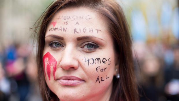 Miska Vigasova from Dublin at the Raise the Roof Protest. Photograph: Tom Honan/The Irish Times.