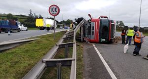 An overturned truck on the N7. Photograph: M50 Dublin/Twitter
