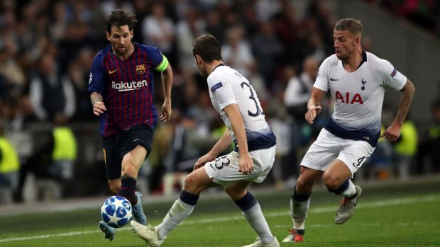 Barcelona's Lionel Messi takes on Tottenham Hotspur's Ben Davies during the Champions League Group B match at Wembley Stadium. Photograph: Nick Potts/PA Wire