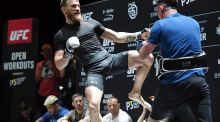 Conor McGregor spars with his striking coach Owen Roddy during an open workout for UFC 229. Photograph: Ethan Miller/Getty Images