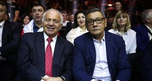 Acting AIBA president Gafur Rakhimov (right) at an international boxing event in Sochi earlier this year. Photograph: Getty Images