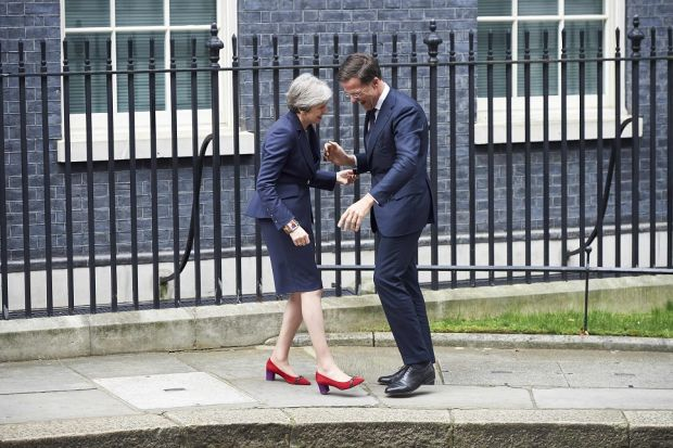 UK prime minister Theresa May greets prime minister of the Netherlands, Mark Rutte, outside No 10 Downing street in February, 2018.
