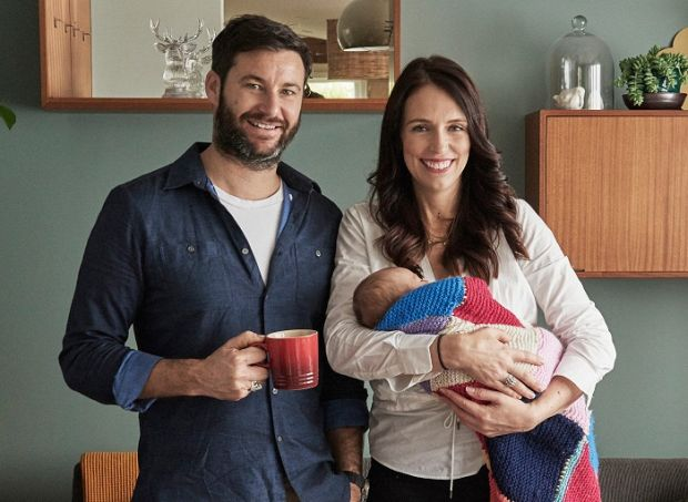 New Zealand prime minister Jacinda Ardern with her partner Clarke Gayford and their baby daughter Neve.