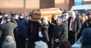 The funeral of Derek (Del Boy) Hutch, from Buckingham Street in Dublin's north inner city, on its way to Our Lady of Lourdes Church on Sean McDermott St last January. Photograph: Alan Betson/The Irish Times
