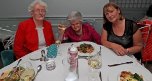 Maeve Noble, Meg McLoughlin and Sue Hedderman at the Chapter Two pop-up fine dining restaurant at The Fern Dean  nursing home in Blackrock, Co Dublin. Photograph: Donall Farmer/The Irish Times