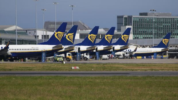 Ryanair has blamed the pilot and cabin crew strikes that blighted its summer, along with rising fuel prices, for a €150m reduction in predicted profit. Photograph: Nick Bradshaw