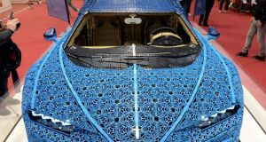 Bugatti bricks: A Chiron two-seater sports car made of Lego as all sports cars should be. Photograph: Eric Piermont / AFP