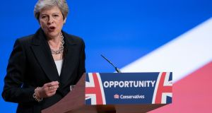 British prime minister Theresa May delivers her leader's speech during the final day of the Conservative Party conference on Wednesday. Photograph:  Christopher Furlong/Getty Images