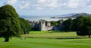 Howth castle and demesne  covers more than 470 acres of walled gardens, woodland, heathland and rhododendron gardens