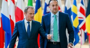 Taoiseach Leo Varadkar (right)  is welcomed by European Union Council president Donald Tusk ahead of a meeting to discuss Brexit in Brussels on Thursday. Photograph: EPA