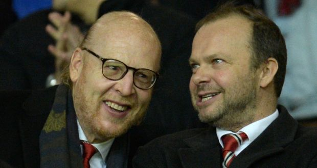 19847a00c Manchester United s US co-chairman Avram Glazer with Manchester United s  executive vice-chairman Ed
