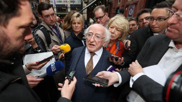 President Michael D Higgins speaks to reporters. Photograph: PA