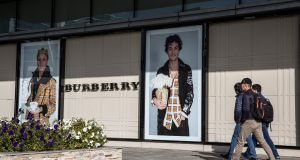 Burberry fell 5.6%  along with shares in European luxury goods companies as concerns persisted over a slowdown in China. Photograph: Taylor Weidman/Bloomberg