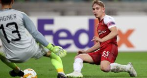 Emile Smith-Rowe of Arsenal scores his team's second goal during the  Europa League Group E match against  Qarabag  in Baku, Azerbaijan. Photograph: Francois Nel/Getty Images