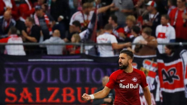 Red Bull Salzburg's Munas Dabbur celebrates scoring their first goal in the Europa League game against Celtic at the Red Bull Arena. Photograph: Leonhard Foeger/Reuters