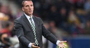 Celtic manager  Brendan Rodgers reacts during the  Europa League Group B  match against  FC Red Bull Salzburg at the Red Bull Arena in Salzburg. Photograph: Andreas Schaad/EPA