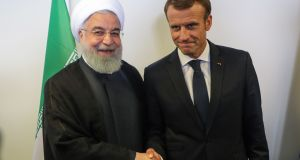 Iranian president Hassan Rouhani and French president Emmanuel Macron   at UN headquarters in New York last month. Photograph: Ludovic Marin/AFP/Getty Images