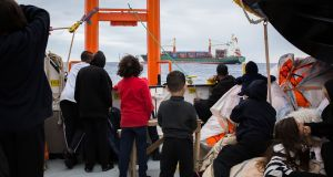 Migrants aboard the Aquarius rescue ship run by non-governmental organisations  SOS Mediterranee and Medecins Sans Frontieres. Photograph: Maud Veith/AFP/Getty Images