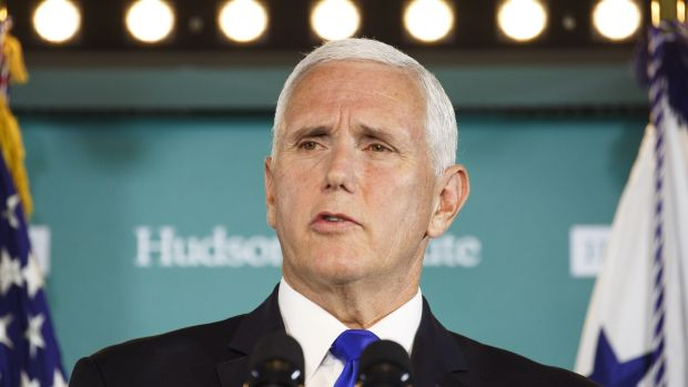 US vice president Mike Pence laid out allegations of Chinese election interference in a harshly worded speech on Thursday. Photograph: Joshua Roberts/Bloomberg