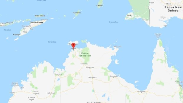 The incident occured 400 miles east of the capital Darwin. Image: Google Maps