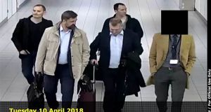 Four men arriving from Moscow at the Amsterdam Schiphol Airport as the Netherlands expelled four alleged Russian agents in April. Photograph: Ho/Dutch Defence Ministry/AFP