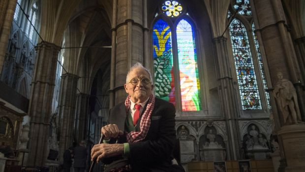 David Hockney in front of The Queen's Window, a new stained-glass window at Westminster Abbey he designed, revealed for the first time on September 26th in London. Photograph: Victoria Jones/Getty Images