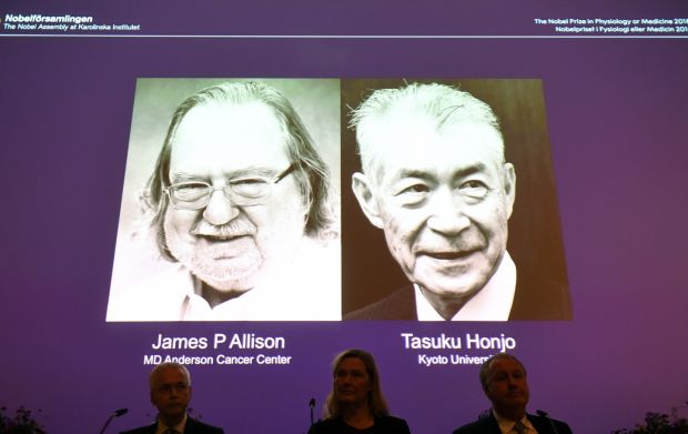 Nobel laureates: James Allison and Tasuku Honjo's discoveries led to new approaches in harnessing the immune system to fight cancer. Photograph: Fredrik Sandberg/EPA