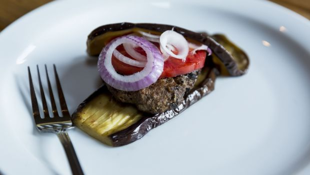 Lamb burger wrapped in aubergine. Photograph: Emma Jervis