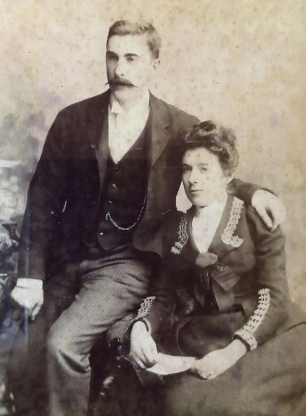 RMS Leinster: postal sorter James Joseph Blake, who died on the ship, and his wife, Catherine, great-grandparents of the actor Aidan Gillen. Photograph: Family collection