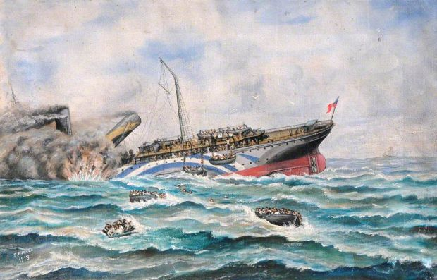 RMS Leinster: the ship's sinking, as painted by Simeon Hughes. Courtesy of Holyhead Maritime Museum