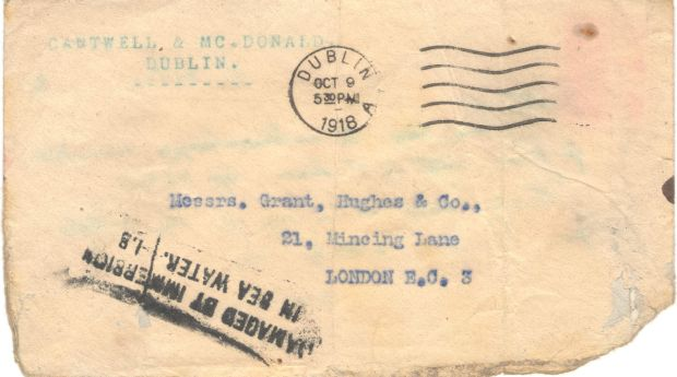 RMS Leinster: an envelope that ended up in the water when the torpedo hit the ship's sorting office. The letter was subsequently delivered in London