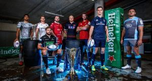 At the Heineken Champions Cup launch in Dublin;  Jarrad Butler (Connacht), Jordi Murphy (Ulster), Callum Gibbins (Glasgow Warriors), Ken Owens (Scarlets), Luke Hamilton (Edinburgh), Peter O'Mahony (Munster), Jonathan Sexton (Leinster) and Ellis Jenkins (Cardiff Blues). Photograph: Inpho/Billy Stickland