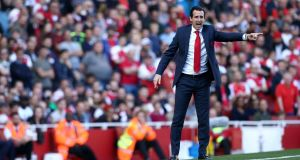 Arsenal manager Unai Emery: his team  will never play long; they will always build from the back.  Photograph: Yui Mok/PA Wire