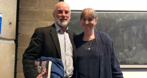 Marley & Me author John Grogan and TCD director of M.Phil in creative writing Deirdre Madden. Photograph: Daniel Comer
