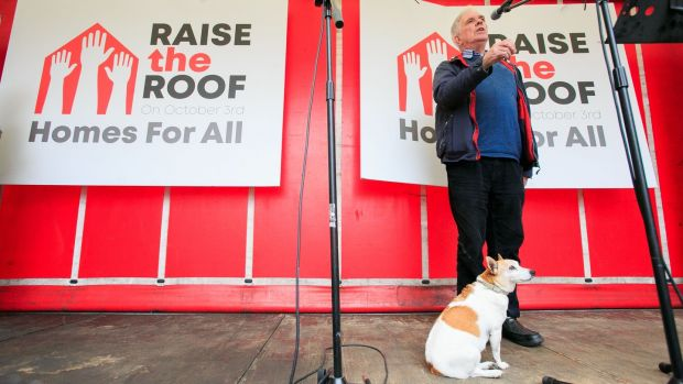 Fr Peter McVerry with his pet dog Tiny during Wednesday's housing crisis protest. He was right not to get carried away by Fine Gael's 2011 plan. Photograph: Gareth Chaney Collins