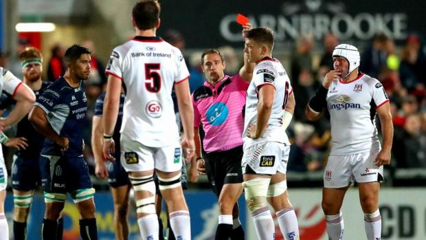 Andrew Brace red cards Ulster's Matthew Rea. Photograph: James Crombie/Inpho