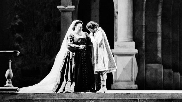 "Spanish soprano Montserrat Caballe (L) and Italian baritone Piero Capucilli perform in Giuseppe Verdi's ""Simon Boccanegra"" on stage of the Choregies festival, in Orange, southern France on July 13, 1985. Photograph: GERARD FOUET/AFP/Getty Images"