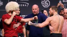 Conor McGregor and Khabib Nurmagomedov face off during a ceremonial weigh-in for UFC 229, in Las Vegas, Nevada, US. Photograph: AP Photo/John Locher