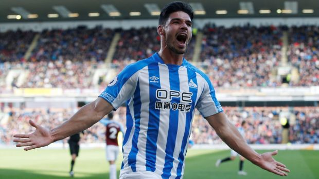 Huddersfield Town's Christopher Schindler celebrates scoring their equaliser against Burnley at Turf Moor. Photograph: Andrew Yates/Reuters