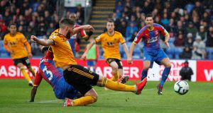 Matt Doherty scores for  Wolverhampton Wanderers in their Premier League game against Crystal Palace at Selhurst Park. Photograph: John Sibley/Action Images via Reuters