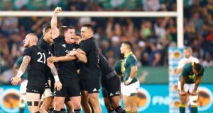 The All Blacks celebrate after winning the Rugby Championship match against South Africa  at Loftus Versfeld stadium in Pretoria. Photograph: Kim Ludbrook/EPA